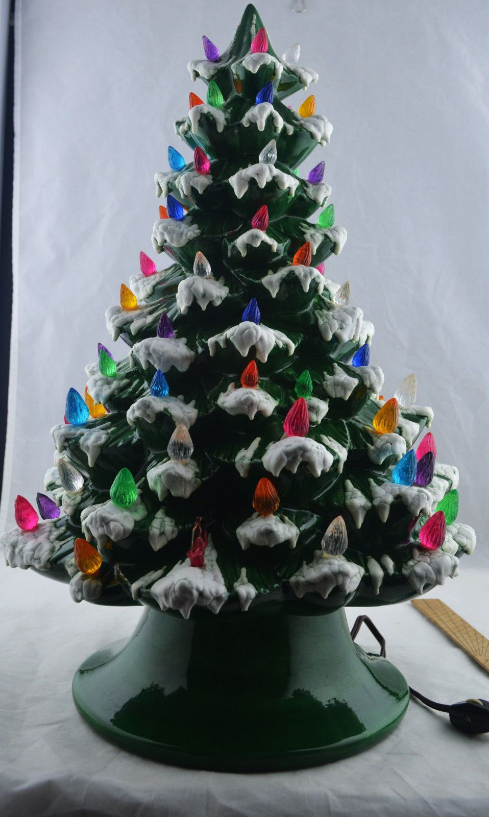 Vintage Green with Textures Snowtips Ceramic Christmas Tree • CAD ...