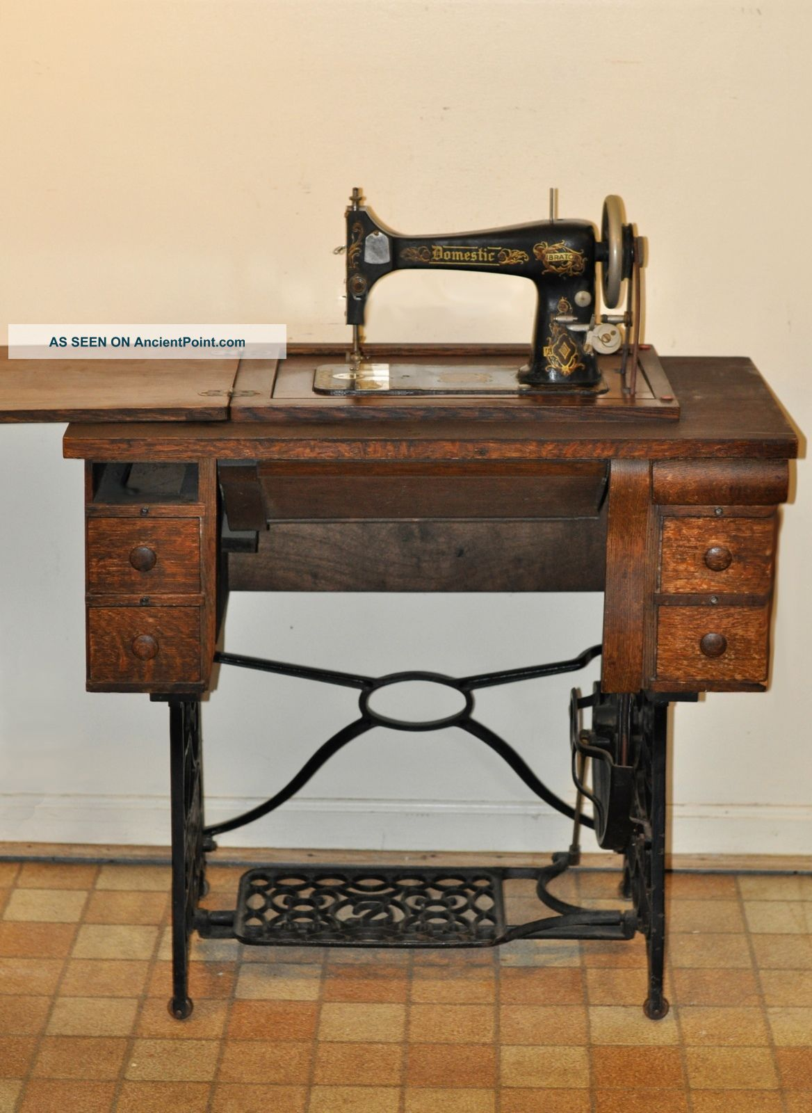 Antique Domestic Treadle Sewing Machine And Cabinet With ...