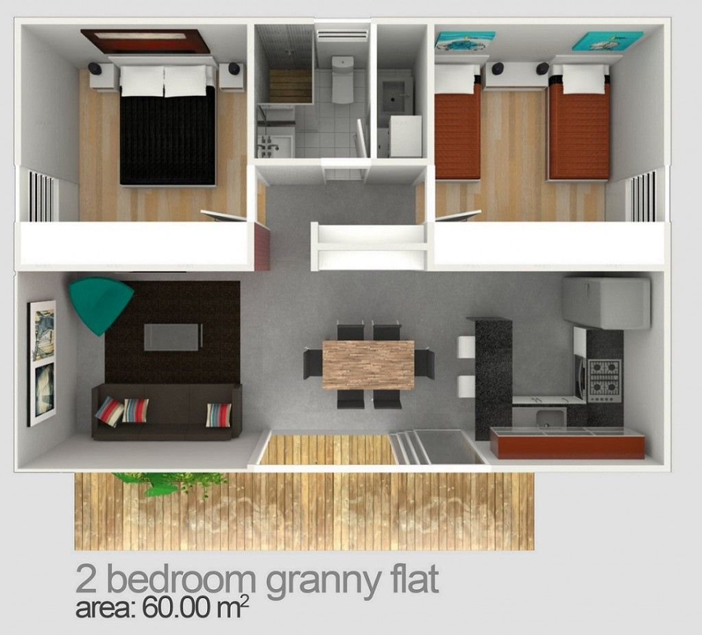 Granny flat seaforth 60sqm 2bed 1bath flat pinterest 2 bedroom flat plans