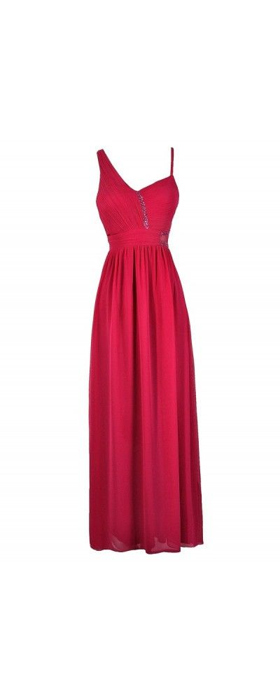 Sideswept Embellished Chiffon Maxi Dress in Hot Pink  www.lilyboutique.com