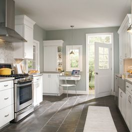 Love The Grey Tile With Grey Paint And White Cabinets Kitchen