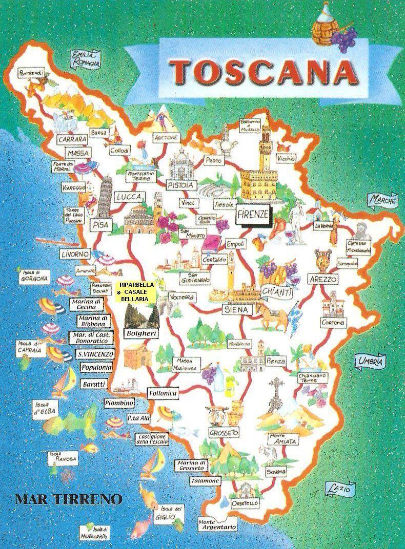 Toscana Tuscany Map Toscana Italy