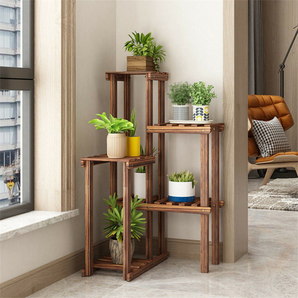 Corner Garden Plant Stand Wood Multi Tiered Flower Display Rack