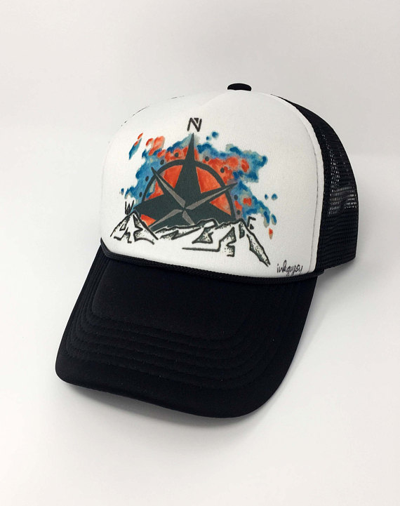 576f6d001f5 compass art mountain art get outdoors mountains are calling inkgypsy custom  trucker hats hats by ink