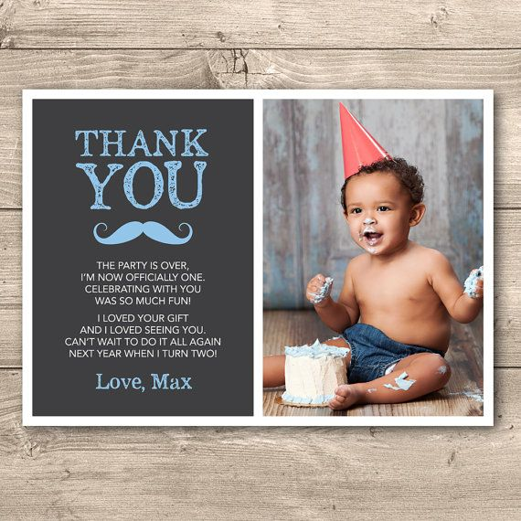 Moustache Boys First Birthday Thank You Card By Inkandcarddesigns