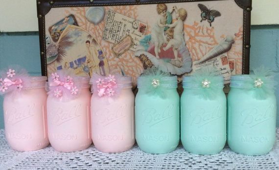 Mason Jars Baby Shower or  Bridal Shower, Pink and Green @ www.etsy.com/shop/3Mimis