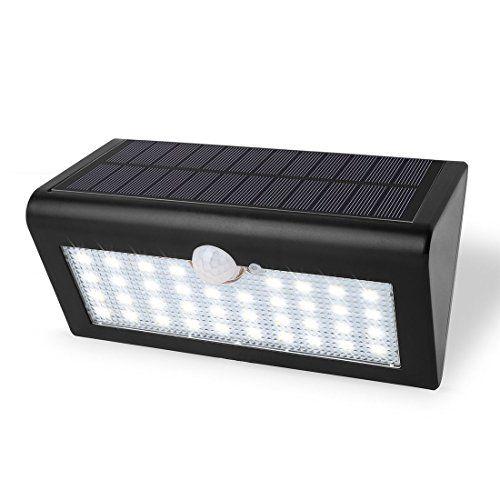 Wortek Solar 38 LED Strahler Außenleuchte Mit Bewegungsmelder Und 3  Leuchtstufen Kabellos IP65 Wandleuchte Für Garten