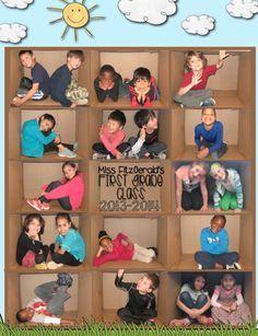 Gruppenbild als Fotocollage. immer in der gleichen Kiste fotografiert und dann gestapelt