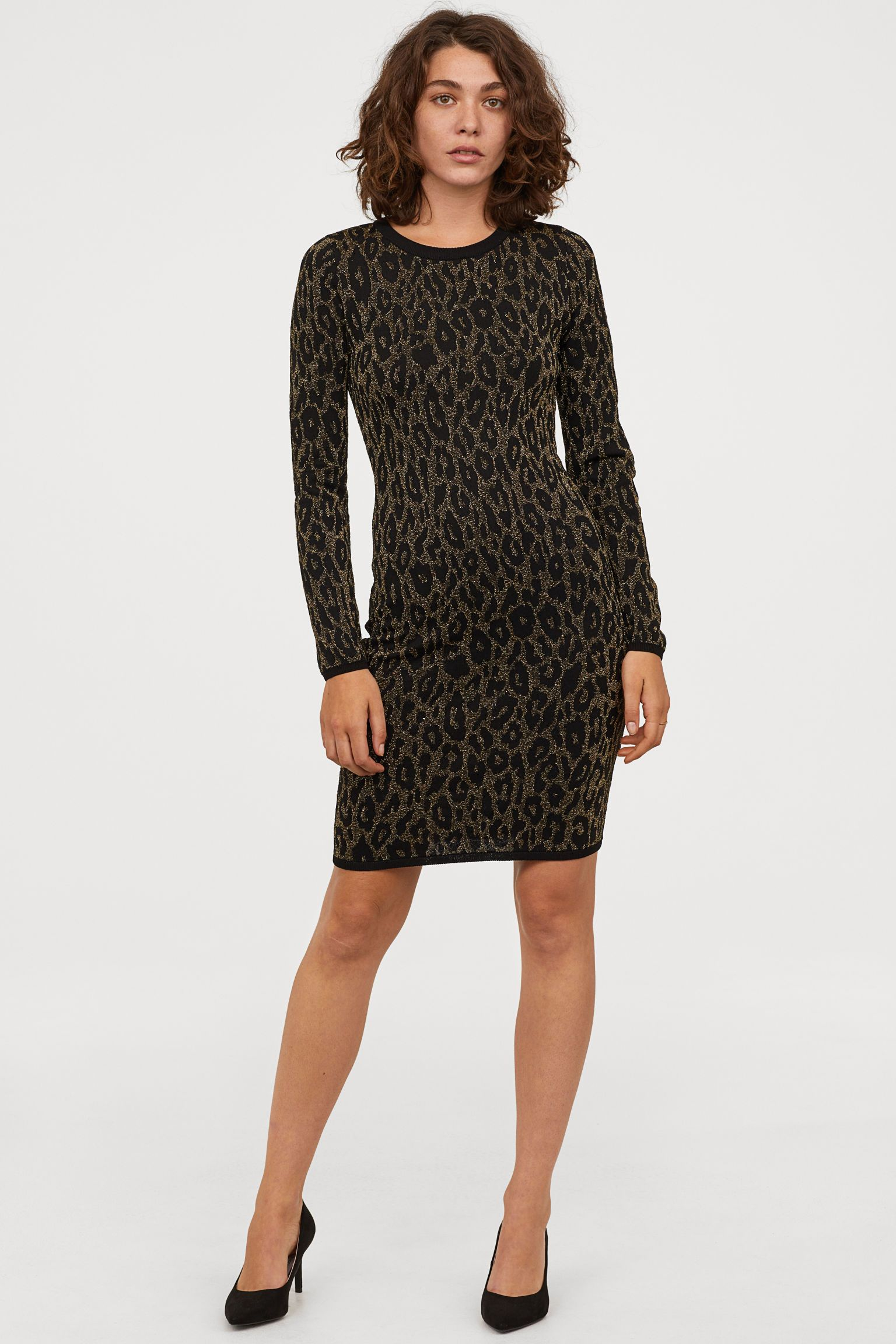 bed910fcee2b6 H&M Jacquard-knit Dress - Black in 2019 | H&Me | Knit dress, Dresses ...