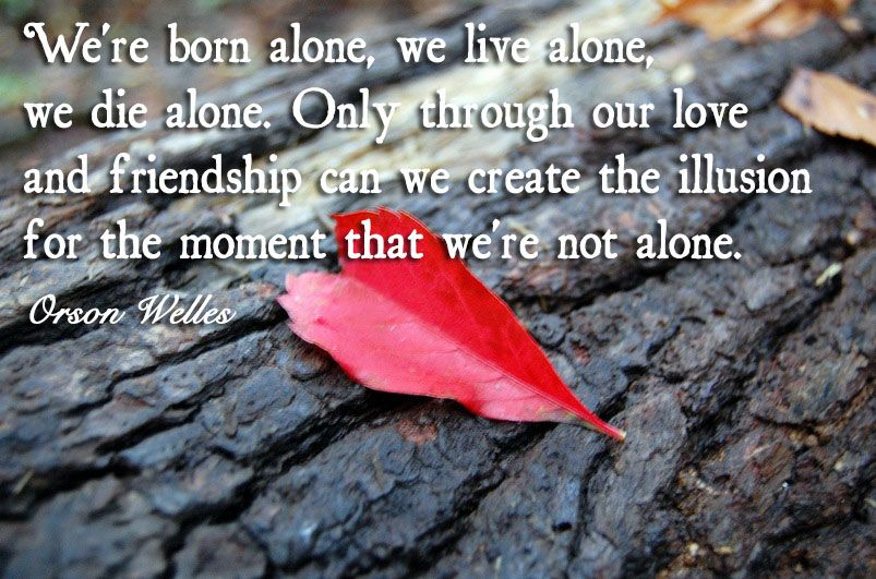 Awesome Were Born Alone We Live Alone We Die Alone Only Through