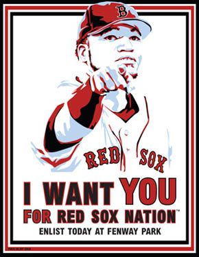 WWI Posters: Red Sox. I Want You for Red Sox Nation. Enlist today at Fenway Park.