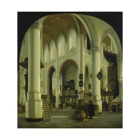 size: 16x16in Giclee Print: Inneres der Alten Kirche in Delft. 1659 by Hendrik Cornelisz van Vliet :
