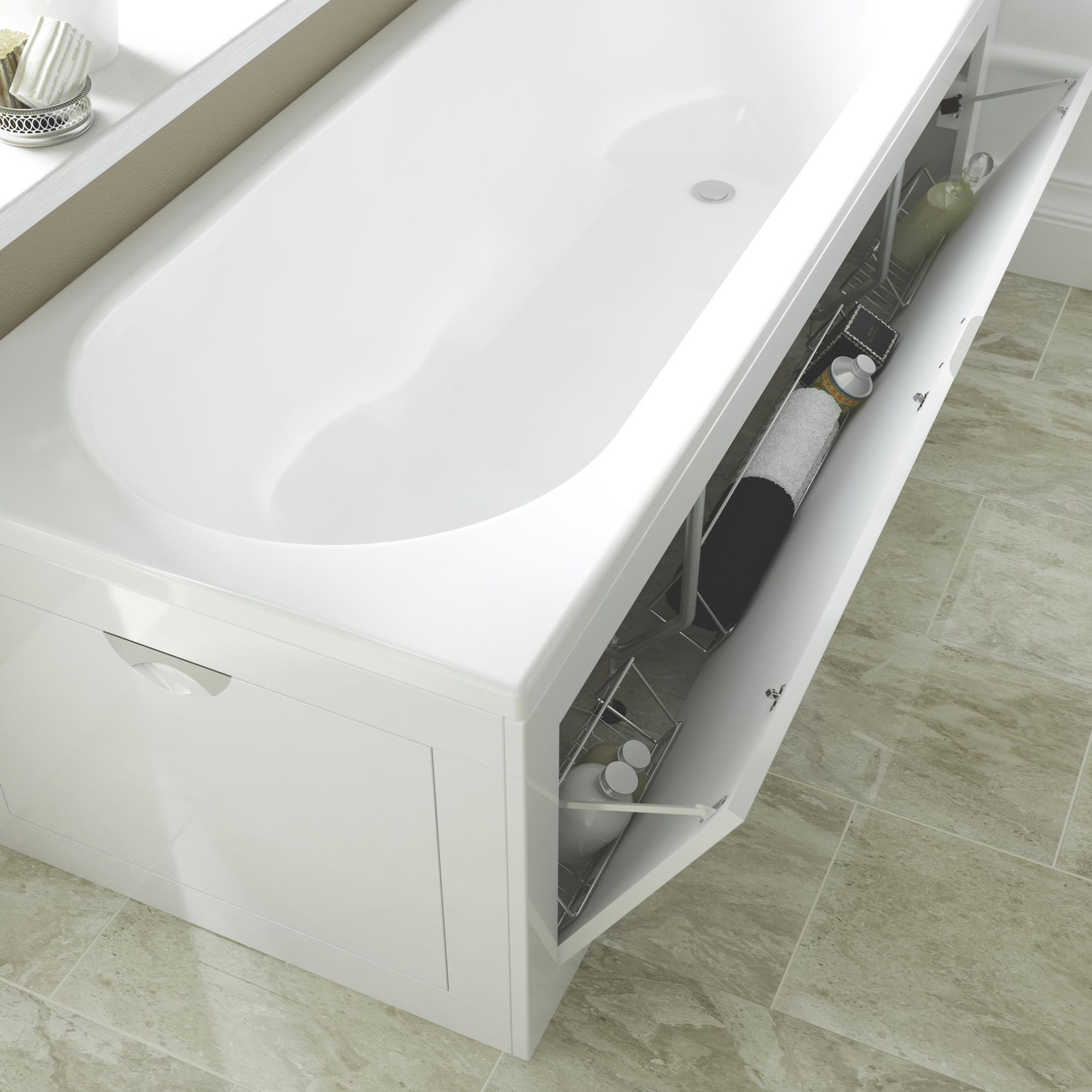 Cooke & Lewis Gloss White Bath Front Panel | Departments | DIY at ...