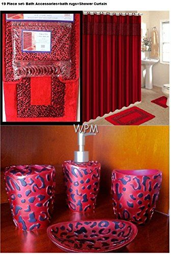19 Piece Bath Accessory Set Red Leopard Bathroom Rugs Shower