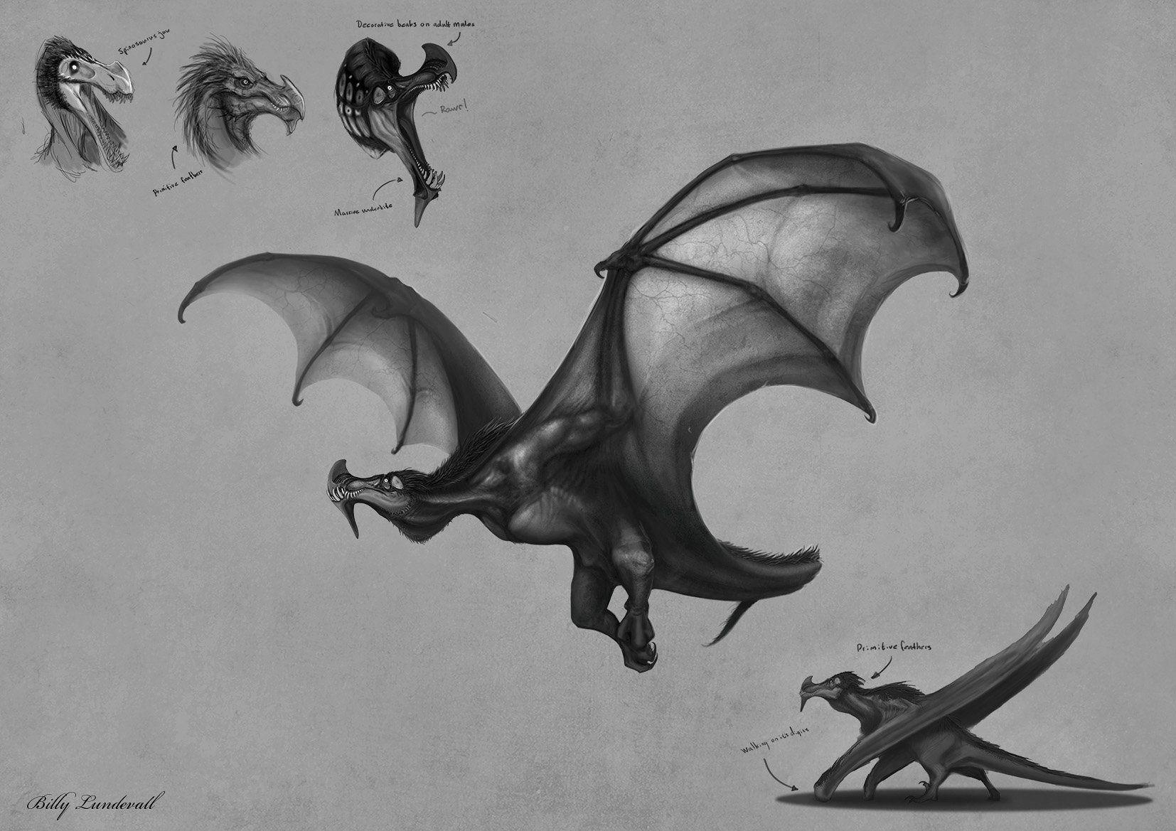 ArtStation - Sawtooth Dragon Sketch, Billy Lundevall