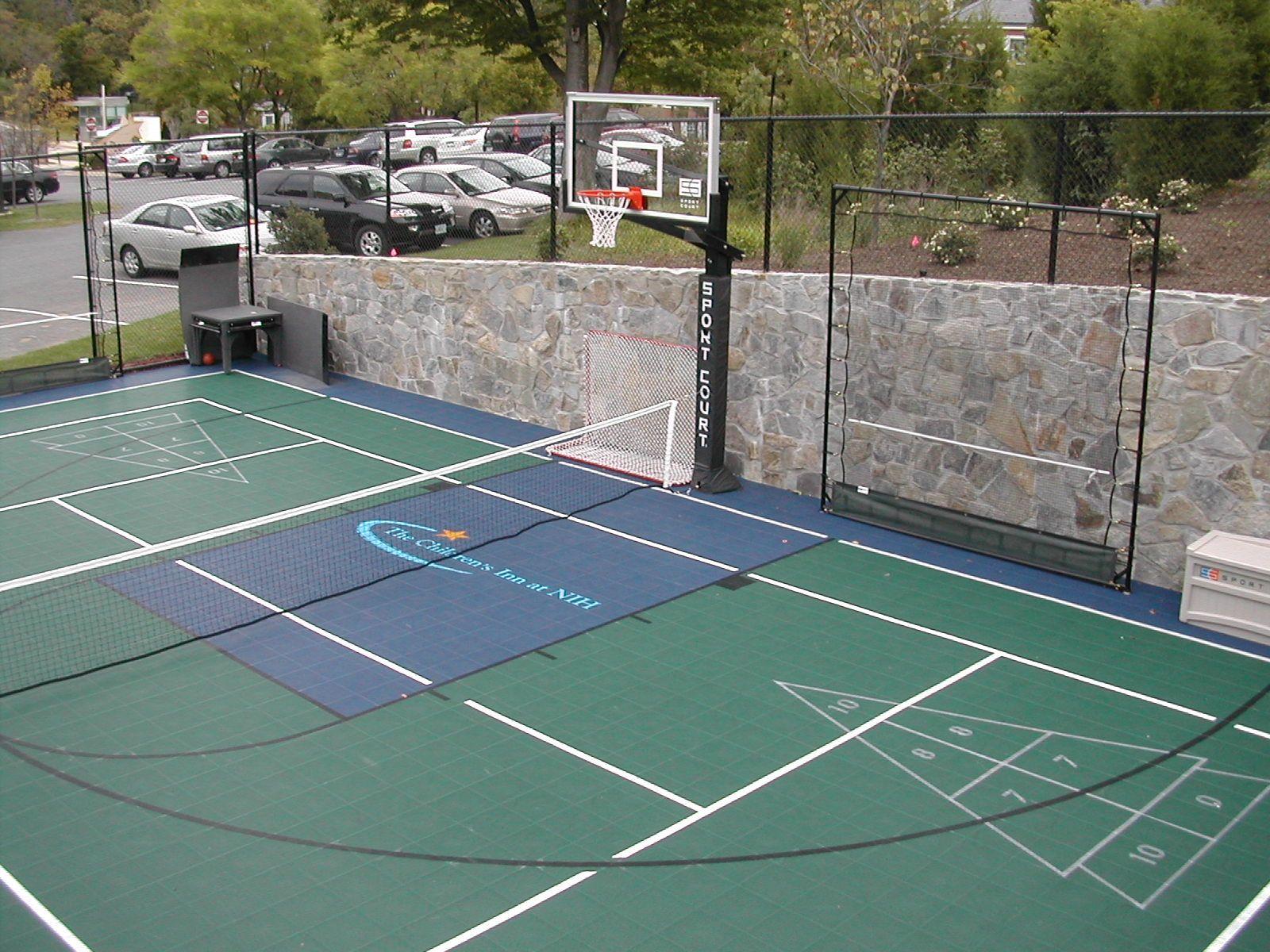 Multisport Court Backyardcourt Backyard Basketball Hopskotch Tennis Basketball Court Backyard Backyard Sports Outdoor Basketball Court
