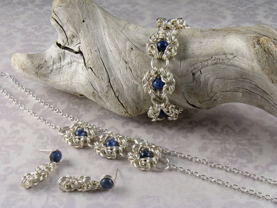 Sodalite Byzantine Romanov Chainmaille, Chain Mail Chainmail Maille Bracelet & Earrings, Silver Cable Chain Necklace, Jewellery Gift Set