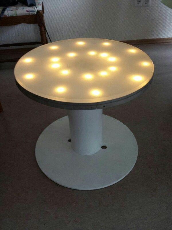 selbstgemachter tisch aus einer alten kabeltrommel als. Black Bedroom Furniture Sets. Home Design Ideas