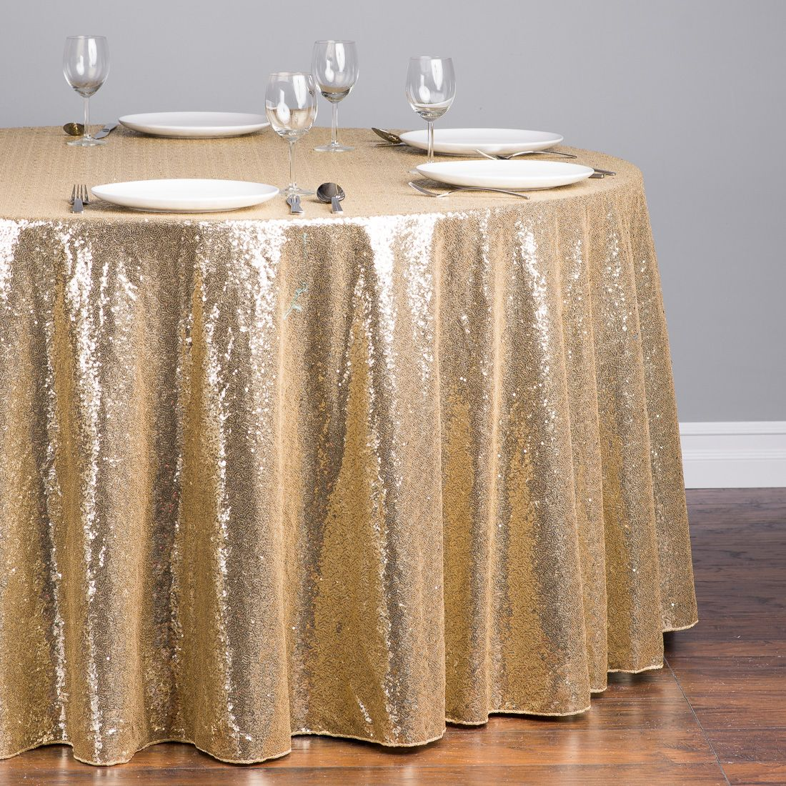 Round Sequin Tablecloth Gold Sweetheart Table W Stripped Runner