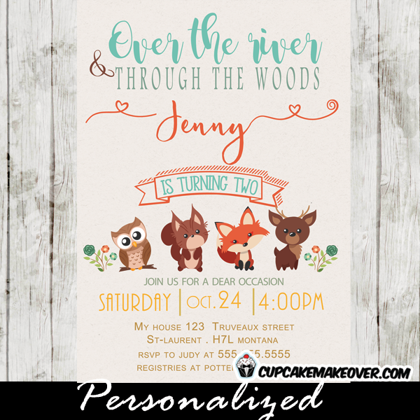 Woodland Creatures Birthday Party Invitations Featuring Adorable Forest Animals Owl Squirrel Deer And Fox Perfect Invitation For Boys