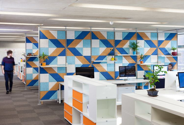 Spotted baux vits combine office interiors shelving for Interior design agency uk