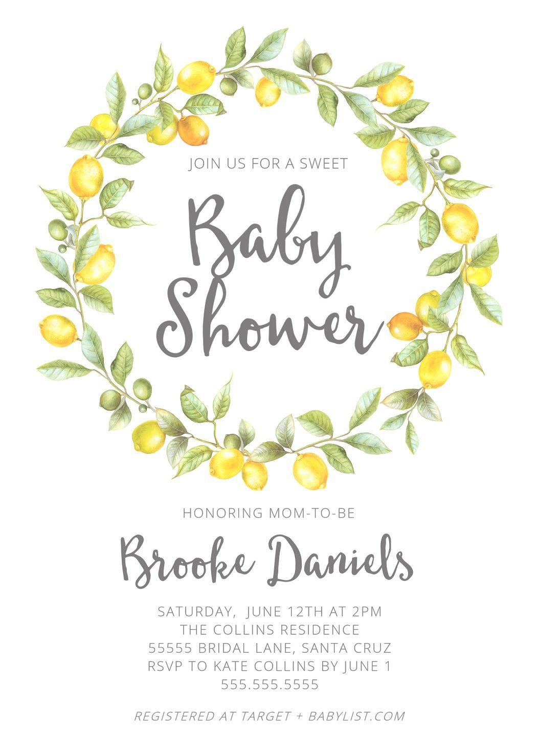 Lemon Baby Shower Theme Lemon Invitations Ideas Lemons Baby Shower Invitations Edit Print Today Summer Baby Shower Baby Shower Invitations Baby Shower