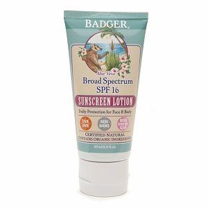Badger Broad Spectrum Sunscreen Lotion, SPF 16, Aloe Vera