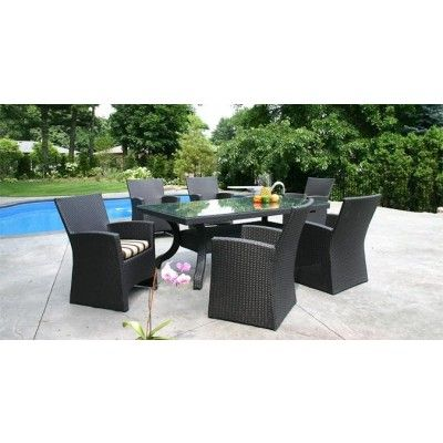 meubles de jardin de 7 morceaux avec une table de patio rectangulaire et six chaises de