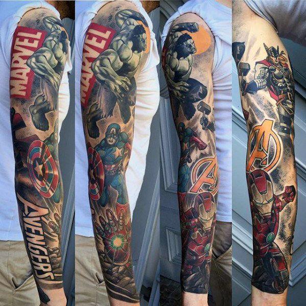 guys marvel avengers full sleeve tattoos tatua pinterest marvel avengers marvel and tattoo. Black Bedroom Furniture Sets. Home Design Ideas