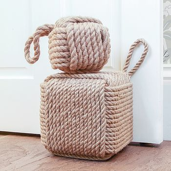 Jute Door Stop & White Pink And Blue Jute Rope Door Stop | Doors Themed rooms and ...