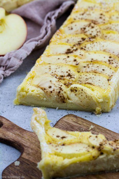 Tarte mit Blätterteig, Schmand, Apfel und Marzipan - Tulpentag. Foodblog.