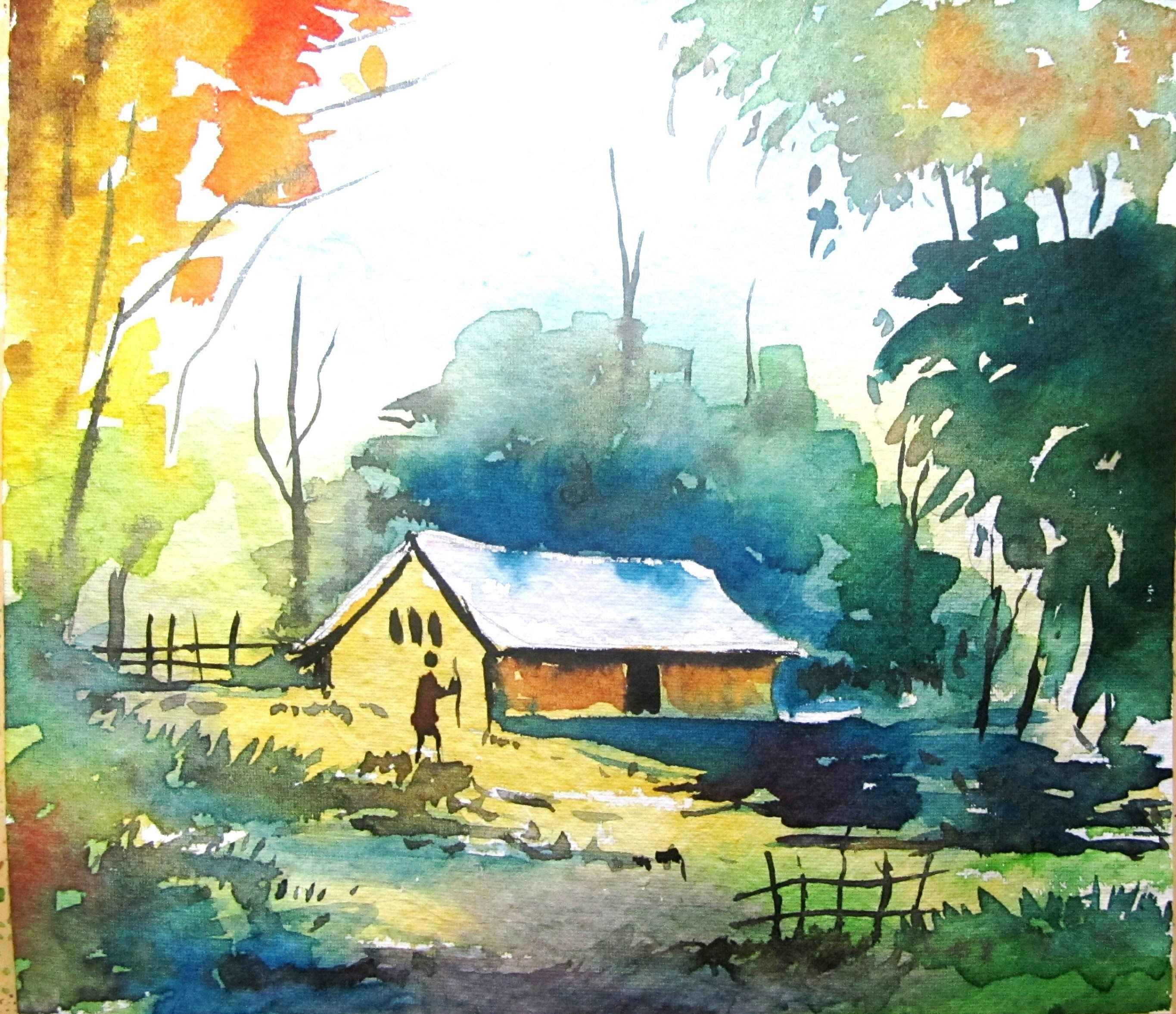 simple watercolor landscape painting, watercolor painting for ...