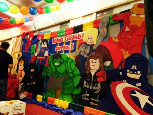 Lego Super Heroes Styro Stage Backdrop Party Decor By J