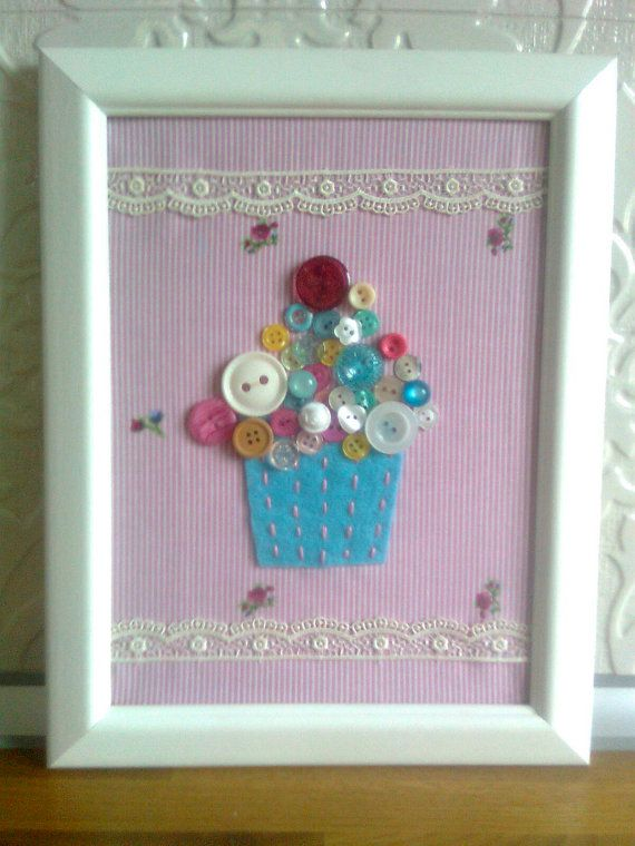 Free Shipping   Cute  Cupcake Frame with Buttons