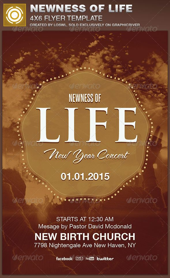The Newness of Life Church Flyer Template is sold exclusively on