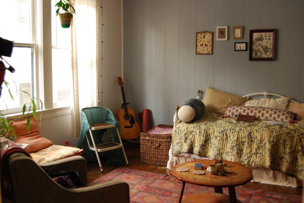 Katie S Cozy Teeny Tiny Boho Studio Boho Apartments Bohemian Studio Apartment Living Room Furniture