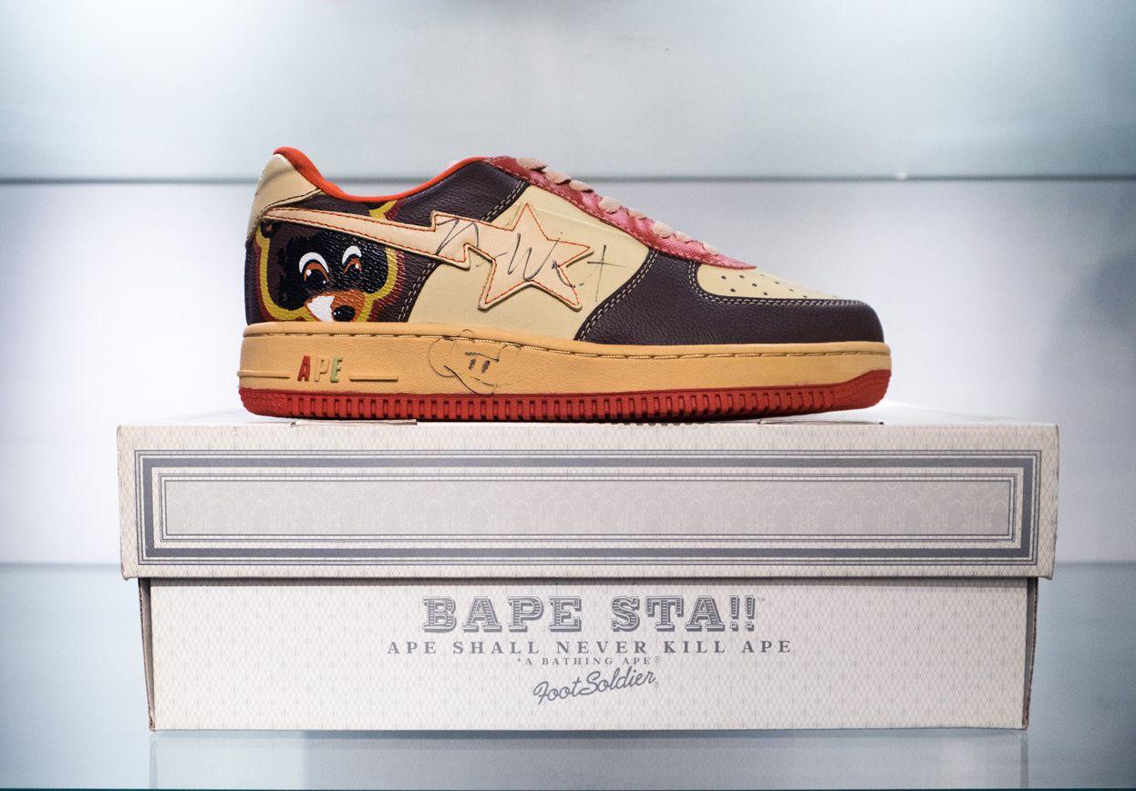 7c39720da56 Autographed Kanye West x Bape Bapestas spotted inside Fools Judge Street -  Tokyo