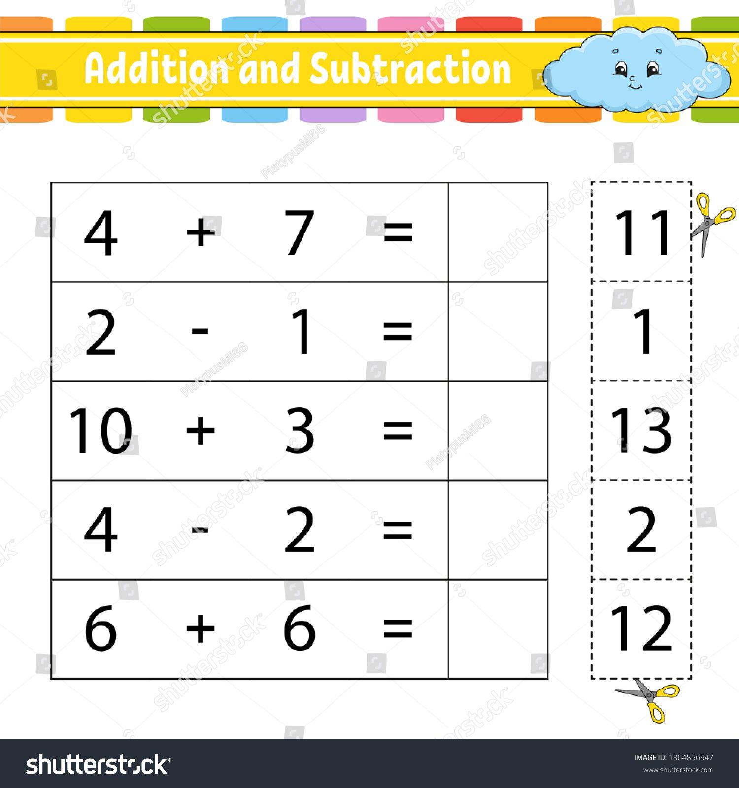 Addition And Subtraction Task For Kids Education Developing Worksheet Activity Page Game For Children Addition And Subtraction Funny Character Subtraction Addition and subtraction with pictures