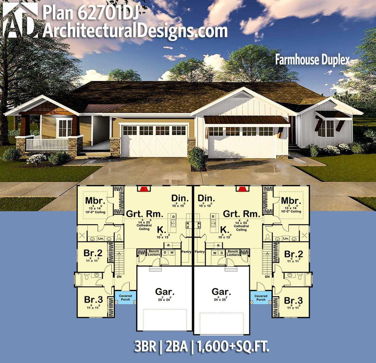 Plan 62701DJ Farmhouse Duplex in 2020 Duplex house