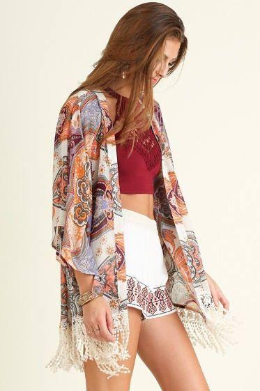 Paisley Kimono, Kimono Cardigan, Lace Kimono, Boho Kimono, Gypsy ...