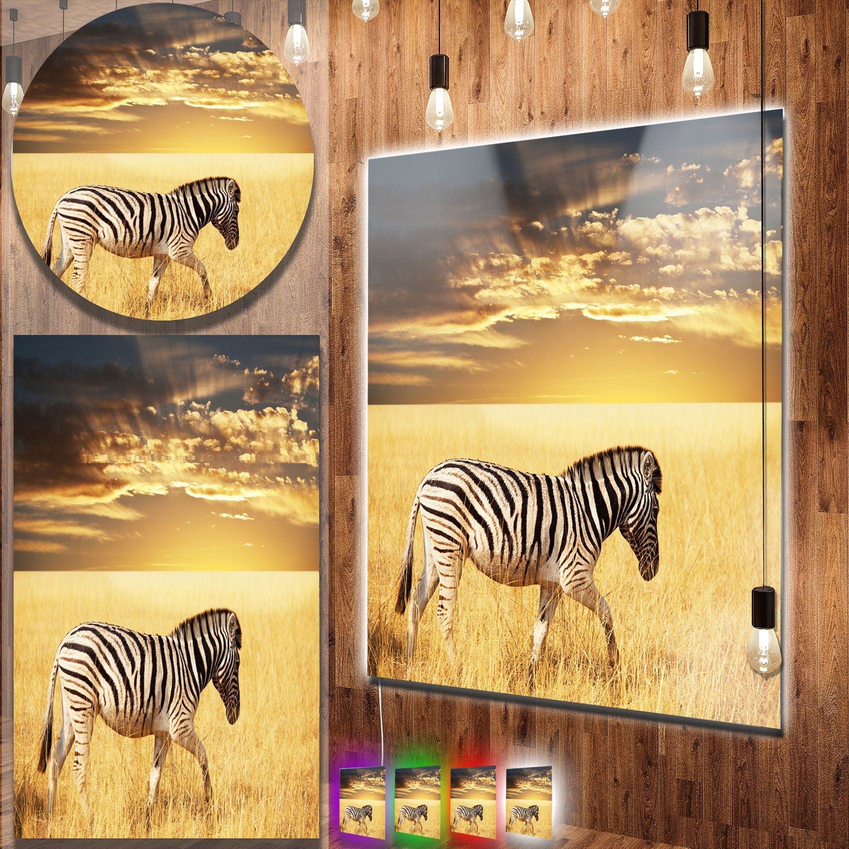 Designart \'Solitary Zebra Walking in Grassland\' African Animal Metal ...
