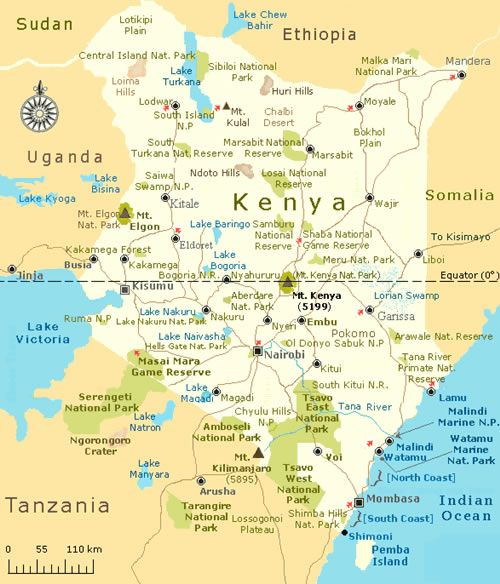 To your right is a Kenya Map Covering all the major National Parks