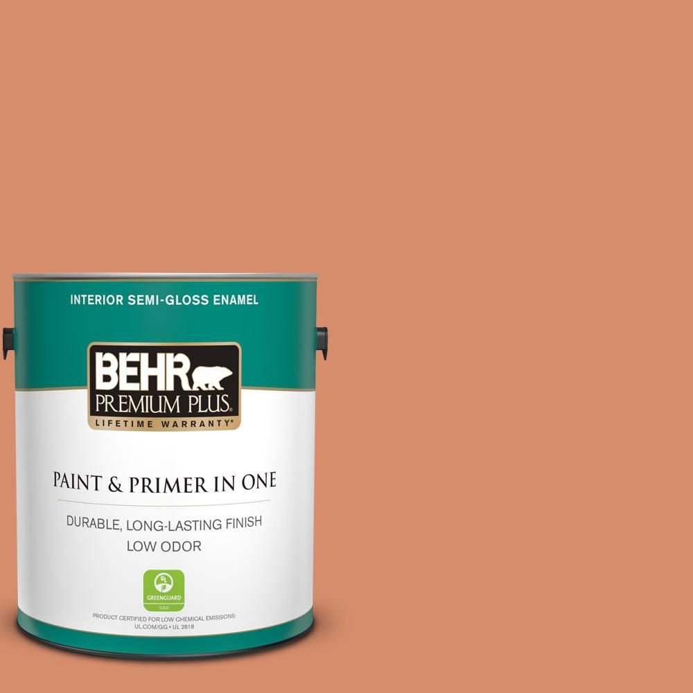 Behr Premium Plus 1 Gal Mq4 38 Balcony Sunset Semi Gloss Enamel Low Odor Interior Paint And Primer In One 330001 The Home Depot Interior Paint Exterior Paint Behr Marquee Paint