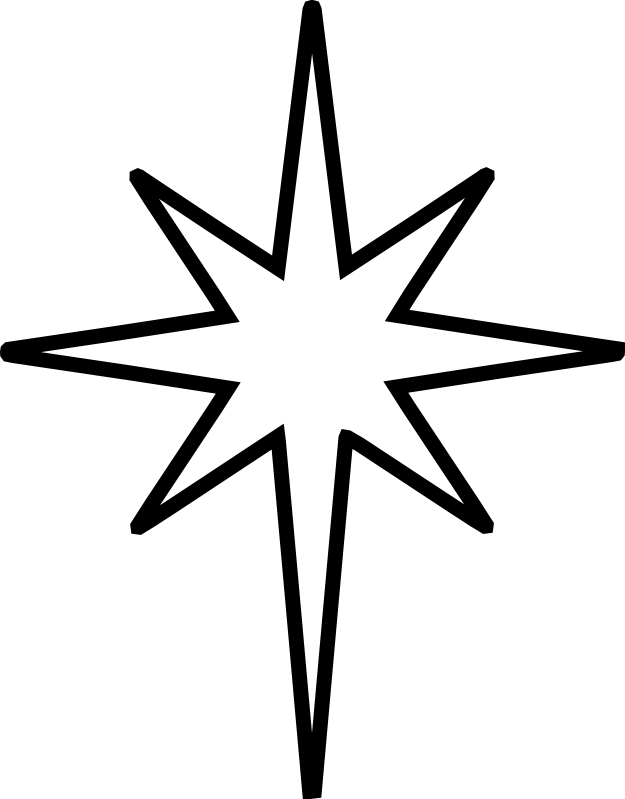 christmas star clip art black and white the nativity star is the rh pinterest com star over bethlehem clipart