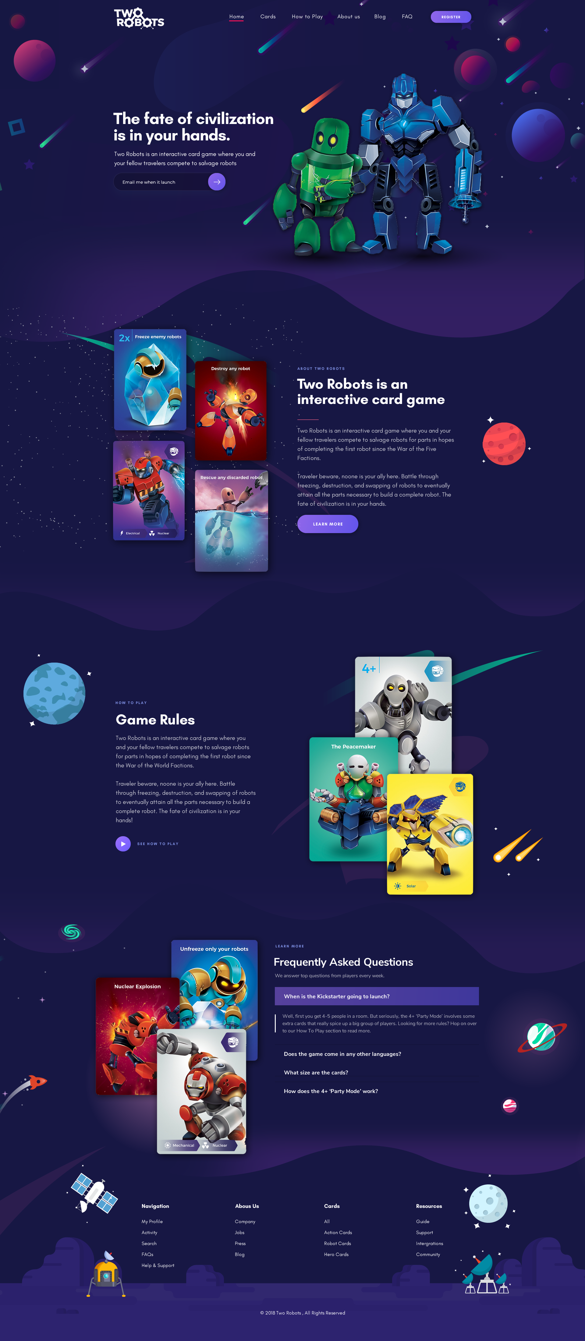 Designs Design Two Robots A Card Game Website Awesome Images Included Landing P Game Card Design Newsletter Design Layout Website Layout Inspiration