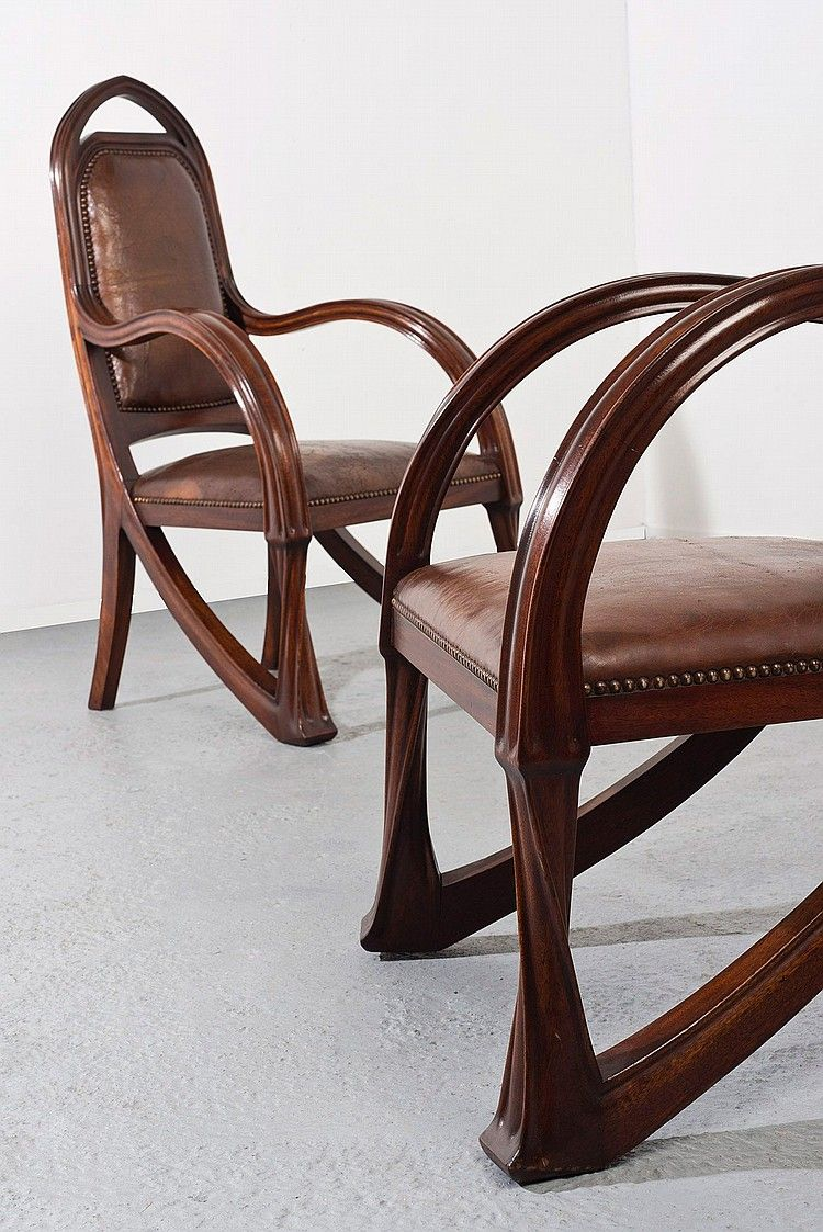 Louis Majorelle France 18591926 Nancy Arm Chairs Mahogany