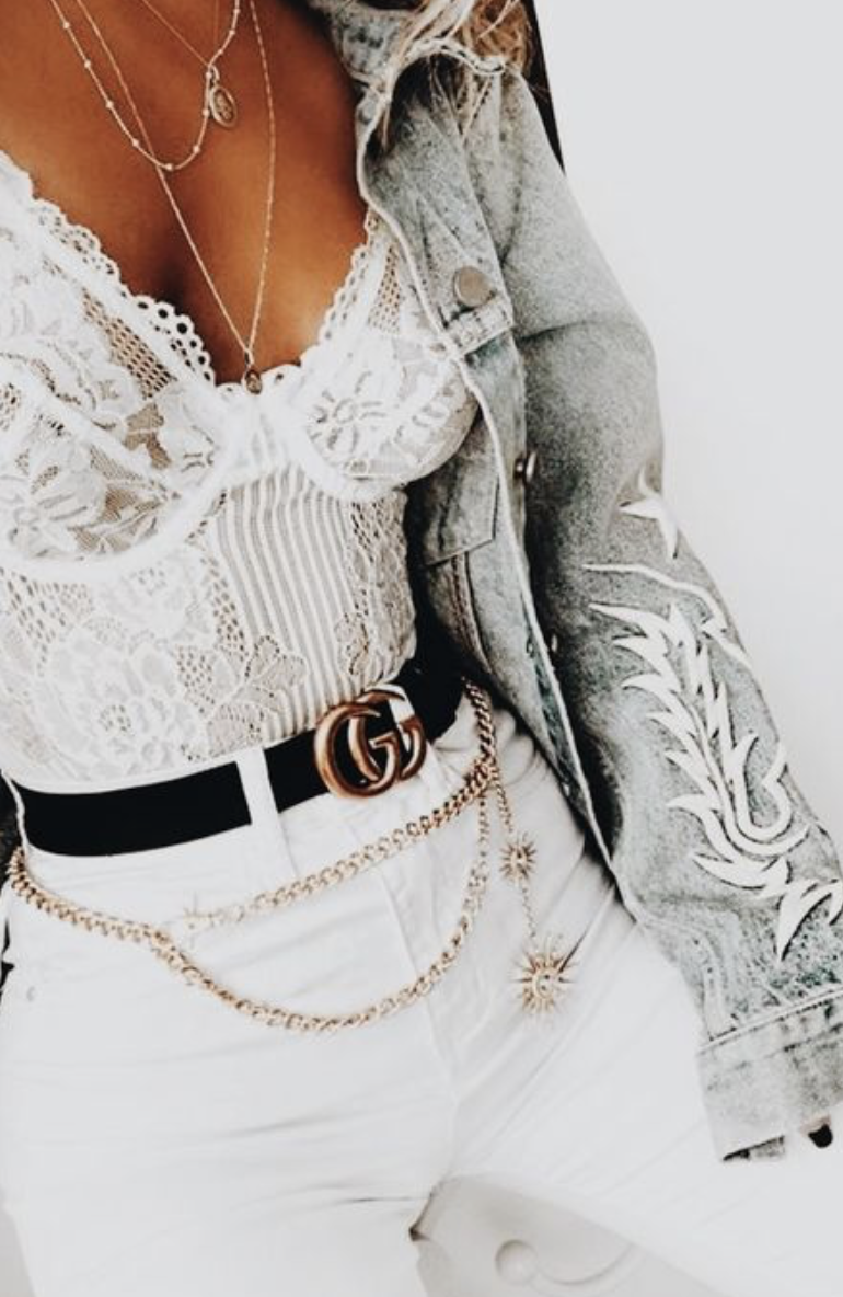 Lace bodysuit high waisted pants  white lace bodysuit  white skinny jeans  gucci belt  levius denim