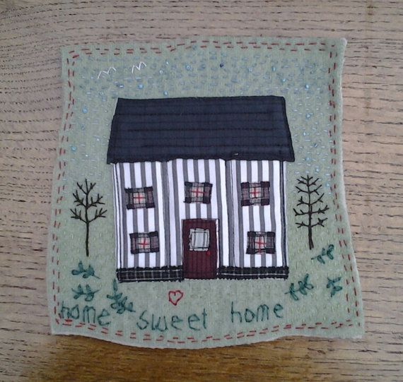 home sweet home textile wall hanging with house by textilechicken, £24.50