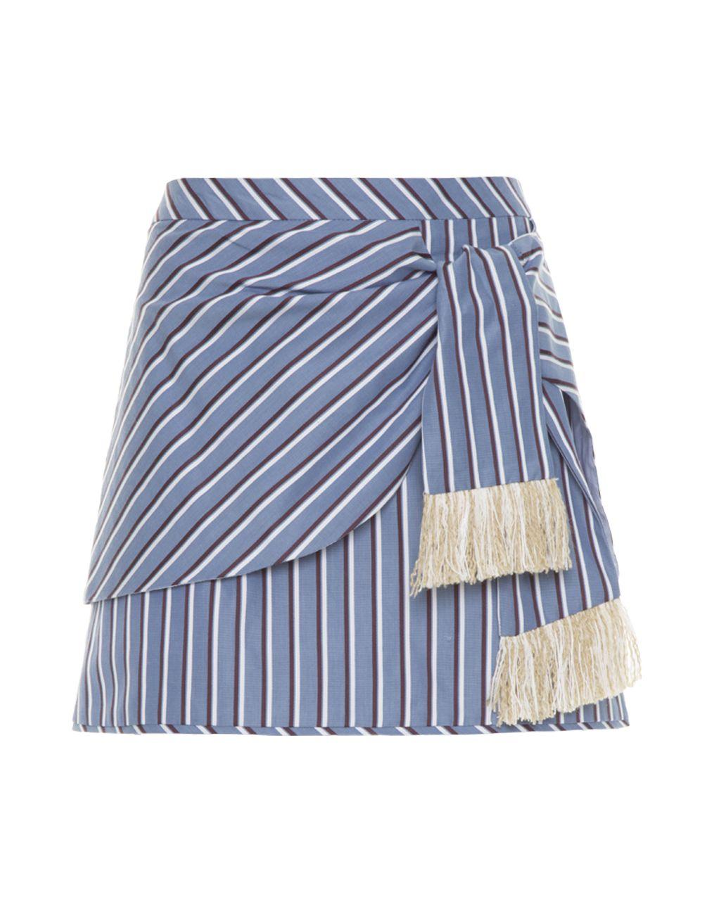 Minissaia azul listras detalhe amarração franjas Cris Barros
