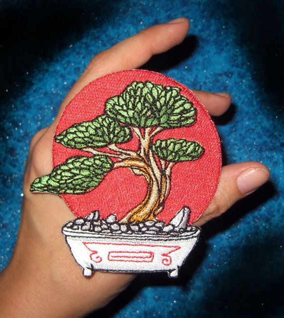 Epic Bonsai Tree Iron on Patch small size by SpiderStitchesParlor